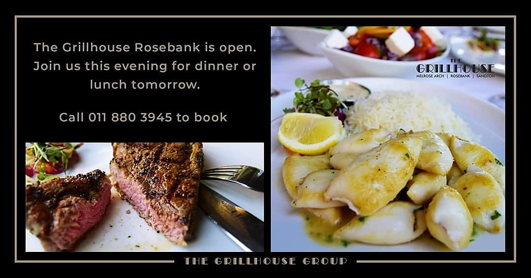 The Grillhouse Rosebank is open. Join us this evening for dinner or lunch tomorrow. Call 011 880 3945 or go online to book - https://t.co/Nl59bO5eJQ We look forward to seeing you! #foodie #likes #steak #restaurant #salad #healthy #foodporn  #food  ✍️ @IngeniousWebArt https://t.co/6Bhev3Ep9p