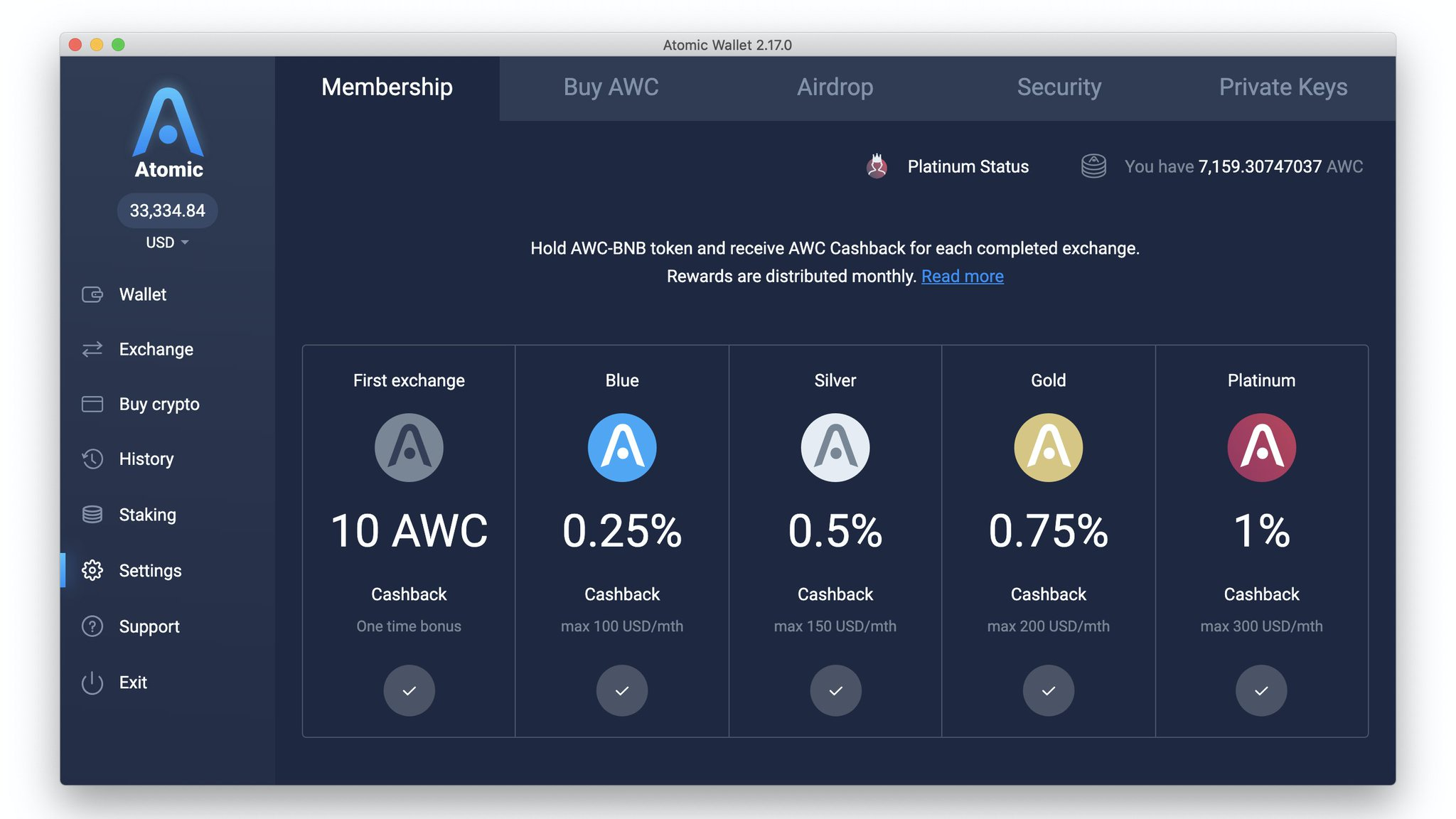 atomicwallet io on twitter monthly cashback rewards and exchange bonuses are distributed to over 10k active atomic traders hold awc to get up to 1 cashback for every exchange in atomic or monthly cashback rewards and exchange