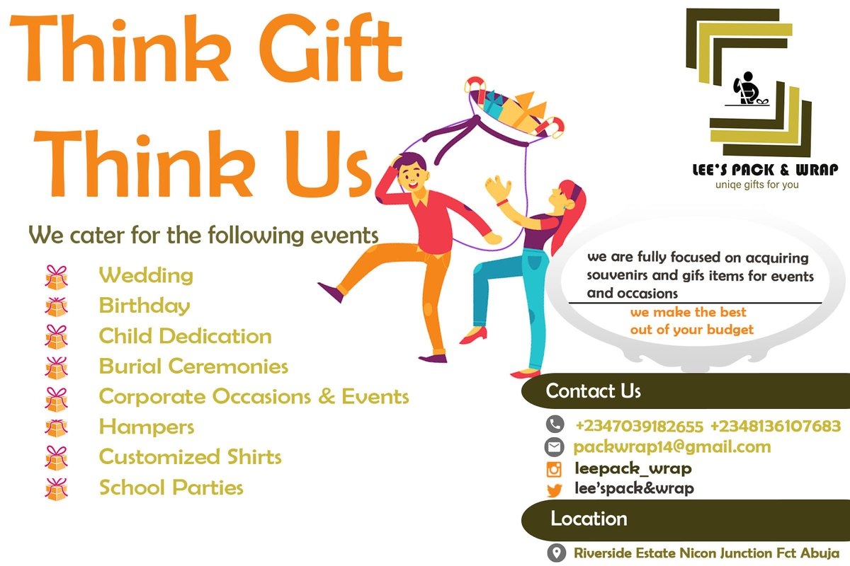 Hi Mercenaries,  Lee's Pack & Wrap is here to handle anything gift and souvenir for you. We can package gifts for birthday, weddings etc  For enquires +2348136107683 +2347039182655. DM is open... Please Mercenaries support my hustle. . . #MercenariesBizDay  #Abuja pic.twitter.com/86pgNRGmEp