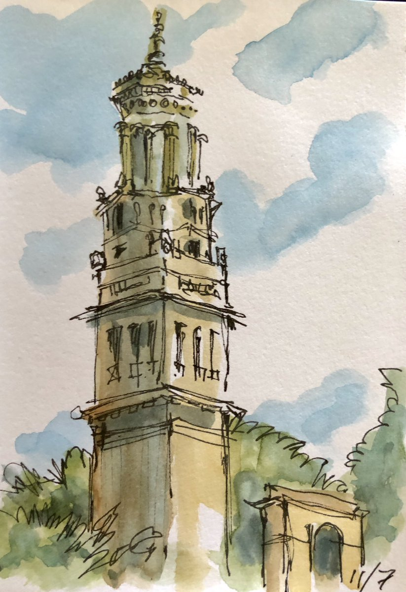 11/7/20 Beckford Tower drawn plein air. Ink pen and watercolour sketch #urbansketch #pleinair #inkpen #watercolor #sketch #sketchbook #beckfordtower #BathTogetherpic.twitter.com/MrDmL8BYnD