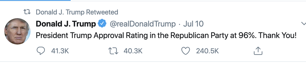 lol it's the recurrent, inexplicable, unsourced 94/95/96% approval tweet