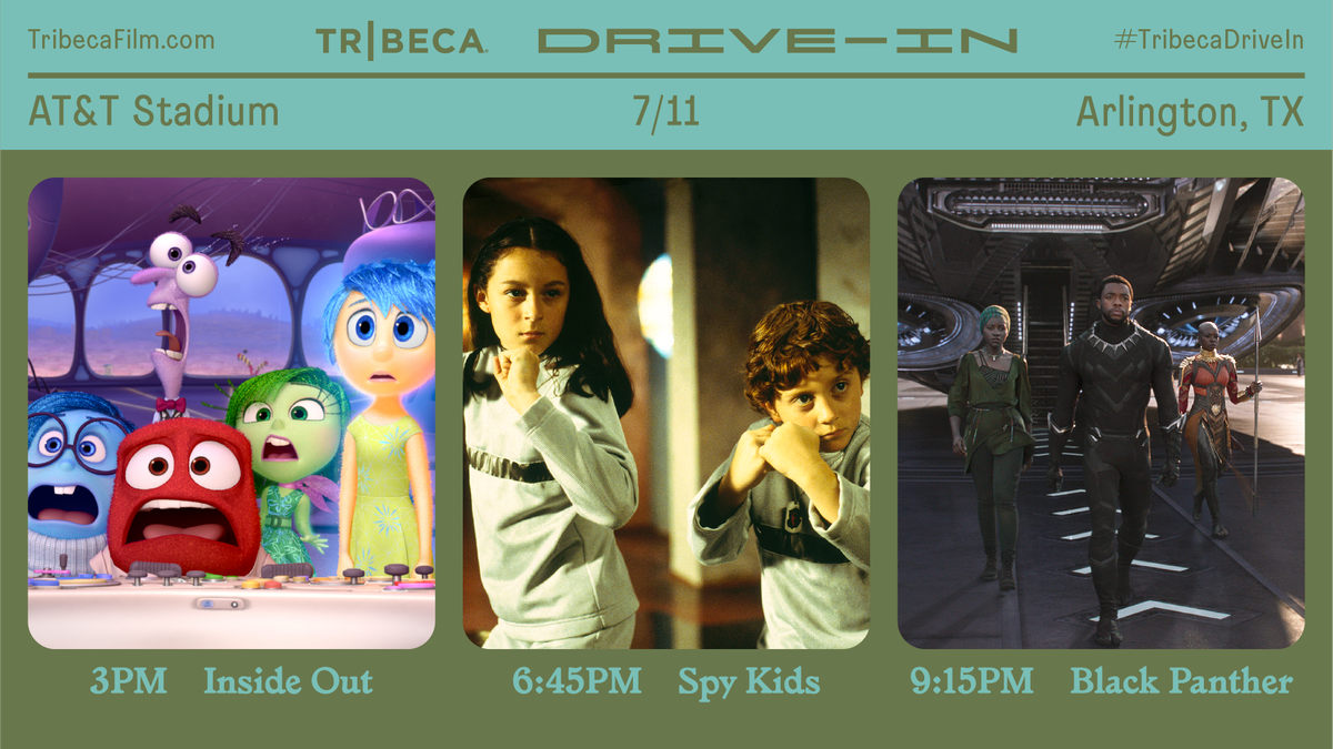 The @Tribeca Drive-In is finishing weekend 2 at #ATTStadium with absolute classics! 🎥 3:00 PM - Inside Out 🎥 6:45 PM - Spy Kids 🎥 9:15 PM - Black Panther 🎬 6:00 PM - Jerry Maguire 🎬 9:30 PM - Love & Basketball Get 🎟 at tribecafilm.com/drive-in/ATT-S… #TribecaDriveIn