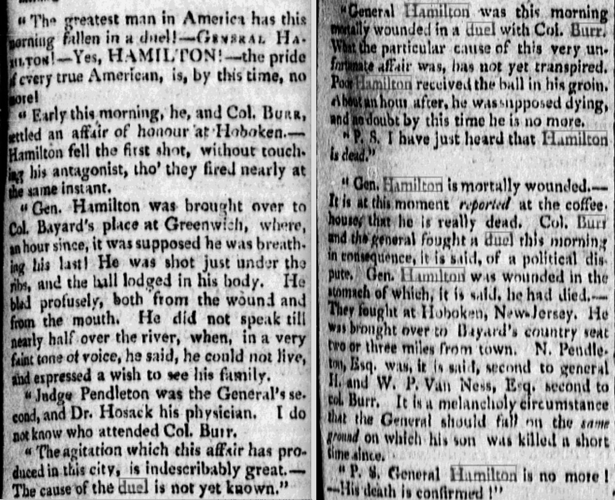 """""""The greatest man in America has this morning fallen in a duel! . . .Yes, HAMILTON!"""" — Dispatches from Poulson's American Daily Advertiser about the encounter at Weehawken of today 1804: https://t.co/STgyZebS5Z"""
