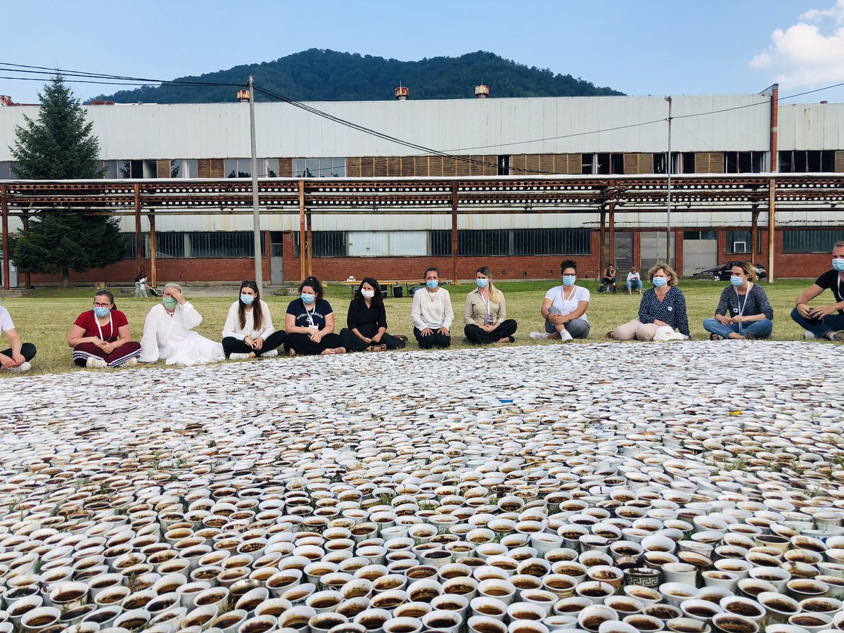 We have begun reflection and will slowly start washing and counting all of the fildžans of the monument. Without the 25 participants of the @PCRCBiH #Srebrenica camp and a few veteran volunteers, and the @SrebrenicaMC staff, we could not have done this. https://t.co/KBSIRidBUy