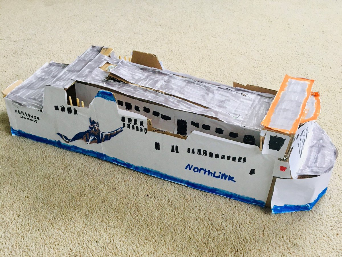 A very talented young man, Max Tulloch aged 11 made this fantastic model of the MV Hamnavoe today! We wonder if he was inspired by his granddad Ali Firth who works on the MV Hjaltland! Well done Max, we love it! ☺️