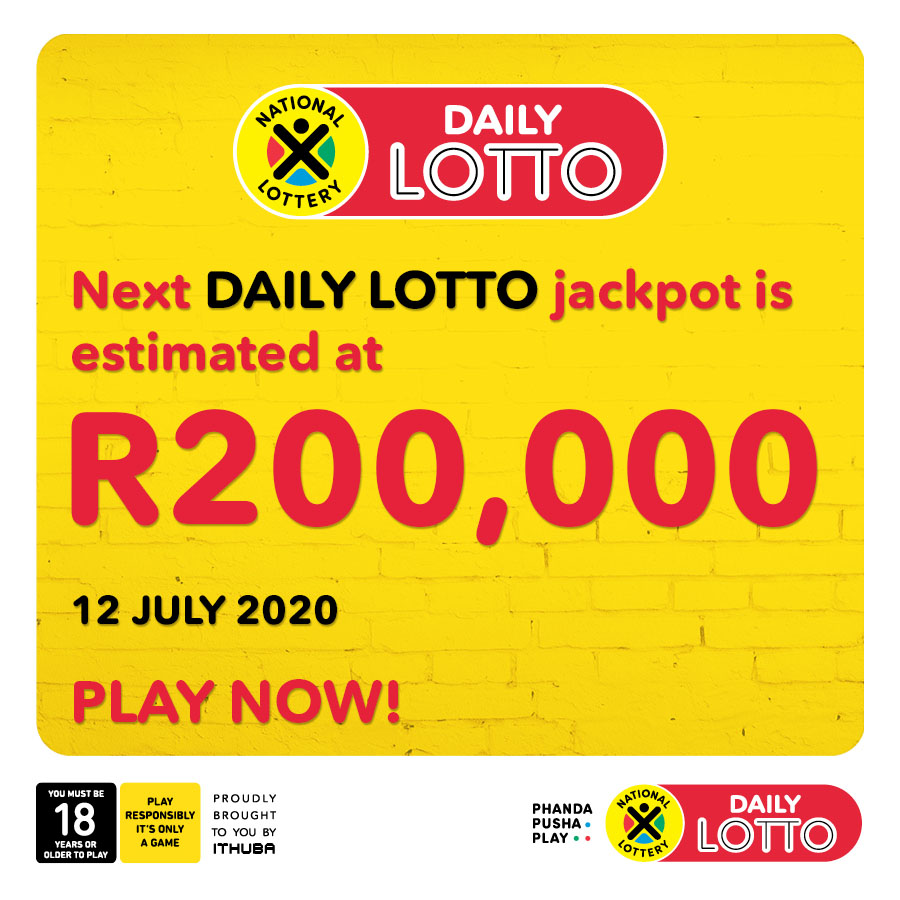Next DAILY LOTTO jackpot is estimated at R200,000! PLAY NOW bit.ly/2F4XDaX or on the Mobile App.