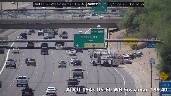 US 60 WB near Power: A crash is blocking the exit lane. #phxtraffic