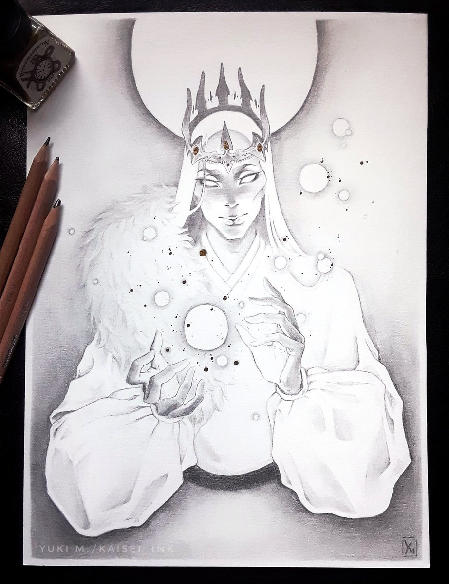 One week smudging, erasing, and blending, and it's finally done!  Check out IG if you want to read the huge blurb I wrote about this. http://Instagram.com/kaisei.ink http://ArtStation.com/kaisei_ink  #graphiteart #pencilartwork #graphite #fantasyartist #illustration #fantasyilluatrationpic.twitter.com/Nh8g6JUH1R
