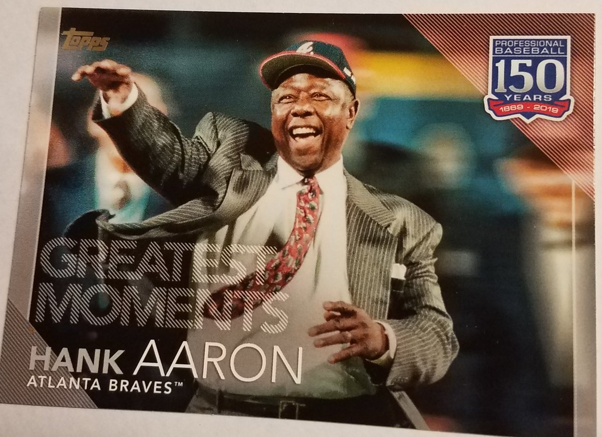 #Braves   HANK AARON #150-35 GREATEST MOMENTS 150 YRS PROFESSIONAL BASEBALL 2019 THE TOPPS COMPANY #MLB #Sportscards   #forjust99cents  https://t.co/RYhFKfiYIW https://t.co/Znkdx75STK
