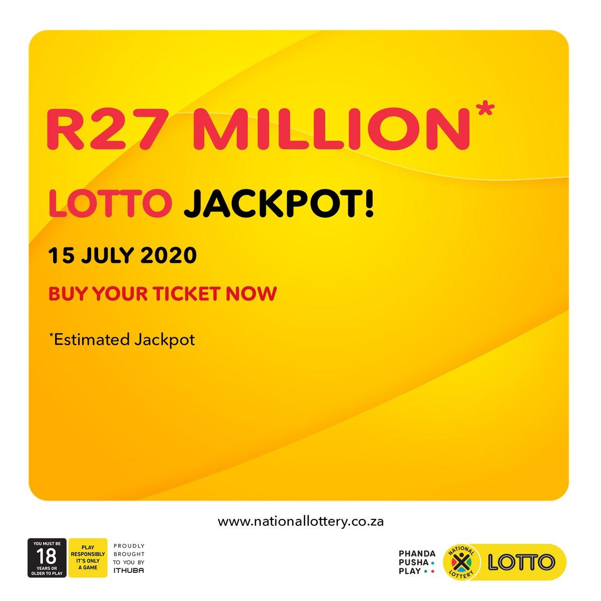 The #LOTTO, #LOTTOPLUS 1 & #LOTTOPLUS 2 estimated jackpots: #LOTTO: R27 Million #LP1: R4 Million #LP2: R11 Million for 15/07/20! #PhandaPushaPlay NOW bit.ly/LottoRegister