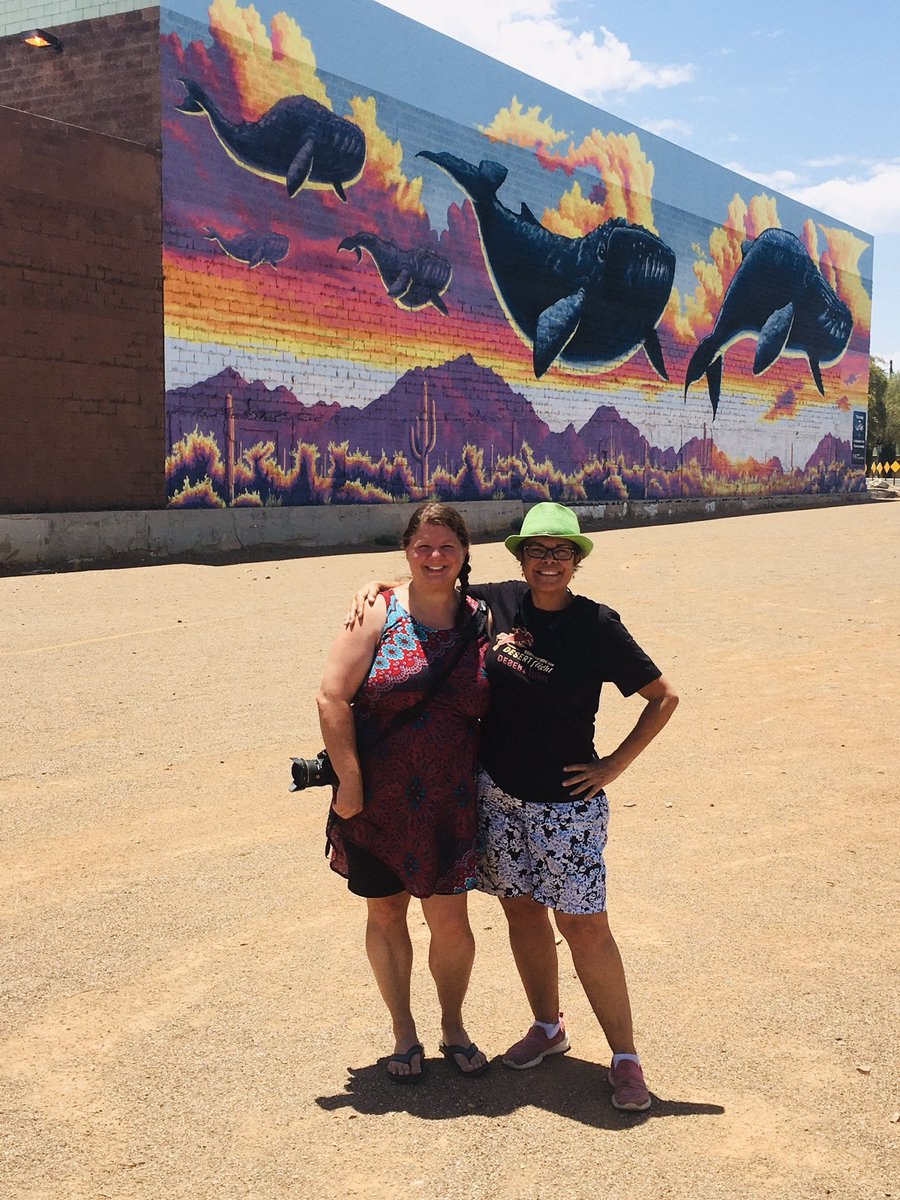 This lovely whale mural by @JoePagac is the bomb! Its great! We had a good, albeit HOT time traveling around #tucson to see its many murals. 🌵🥰