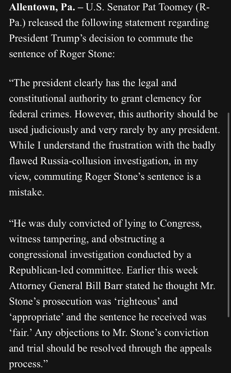 "Sen TOOMEY: ""commuting Roger Stone's sentence is a mistake."""