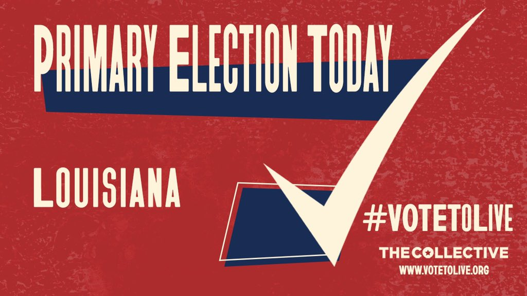 Louisiana, you're up! If you didn't return your ballot by yesterday's deadline, you can vote in person today. Check your polling location and please be safe: voterportal.sos.la.gov #VoteToLive #WearAMask