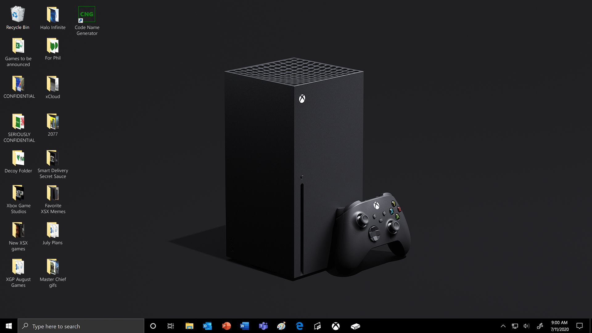 A Windows 10 Desktop with an Xbox Series X console and controller as the background image. Files and folders on the desktop are jokes and nods referencing the console and Xbox in general.