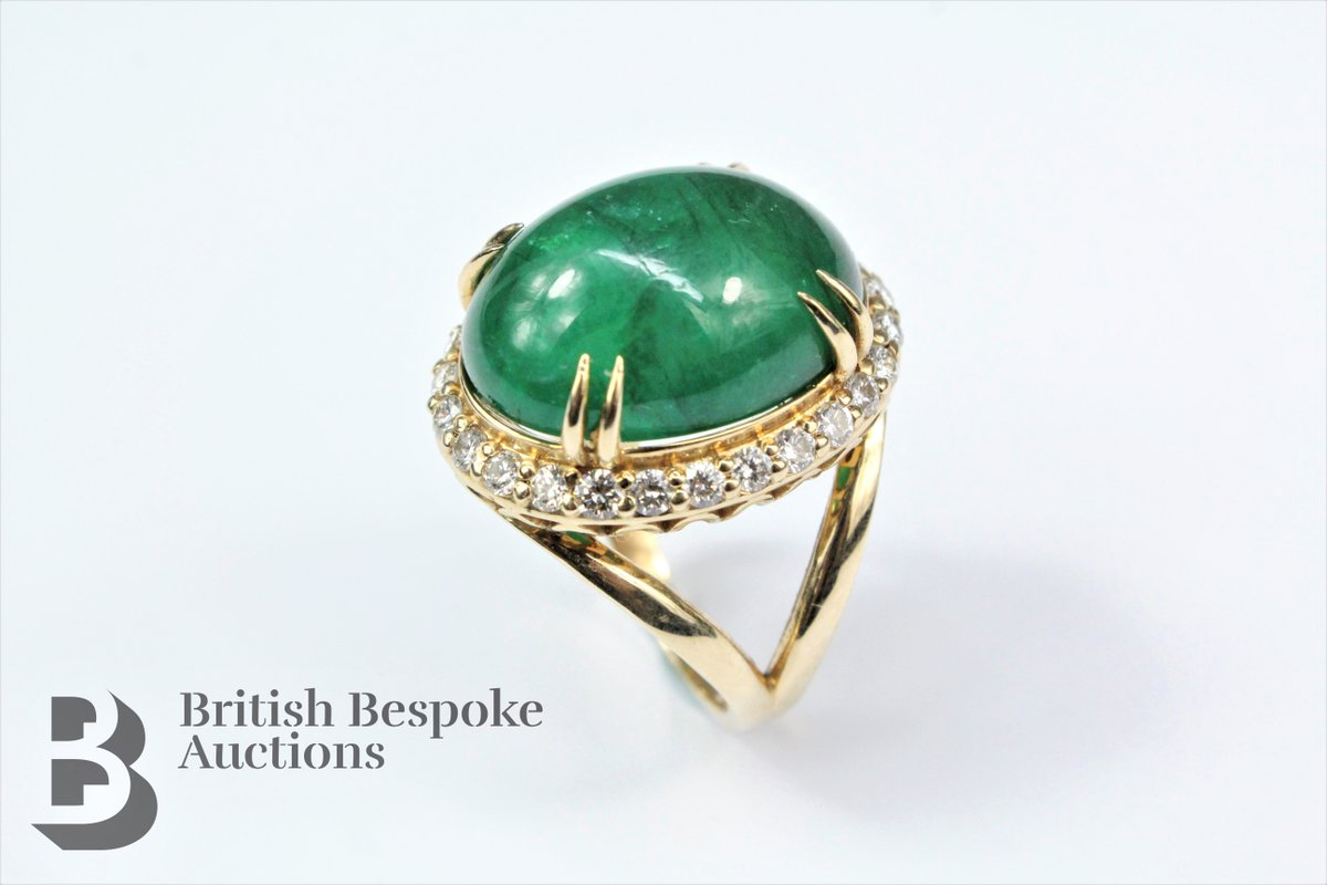 Coming up in next Wednesday's online only sale: Lot 292 18.2 Cabochon Emerald and Diamond Ring £3000-5000 #antique #bespoke #auction #cabochon #emerald #diamond #ring