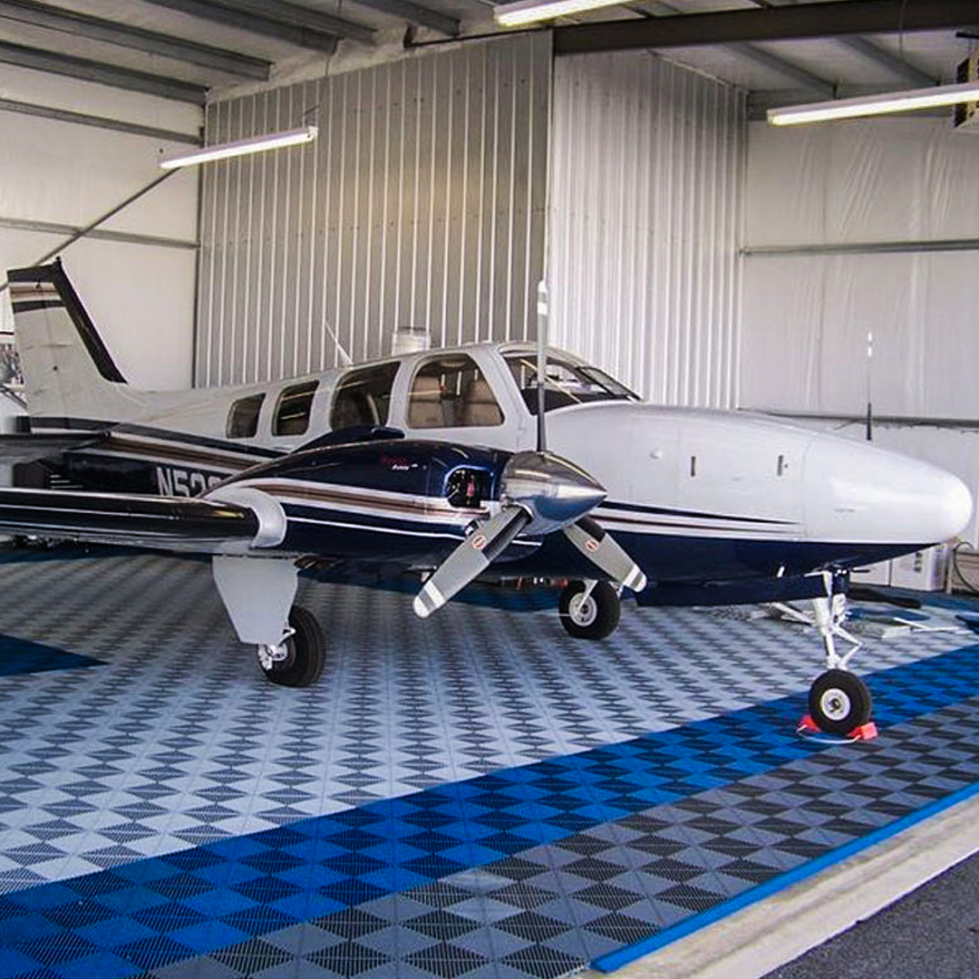 How do you like to park your personal aircraft? Only on the best tile in the industry. . . . #Swisstrax #ModularFloor #HangarGoals #Hangar  #Ribtrax #RoyalBlue #PearlSilver #SlateGrey https://t.co/PnDnUw7bqI