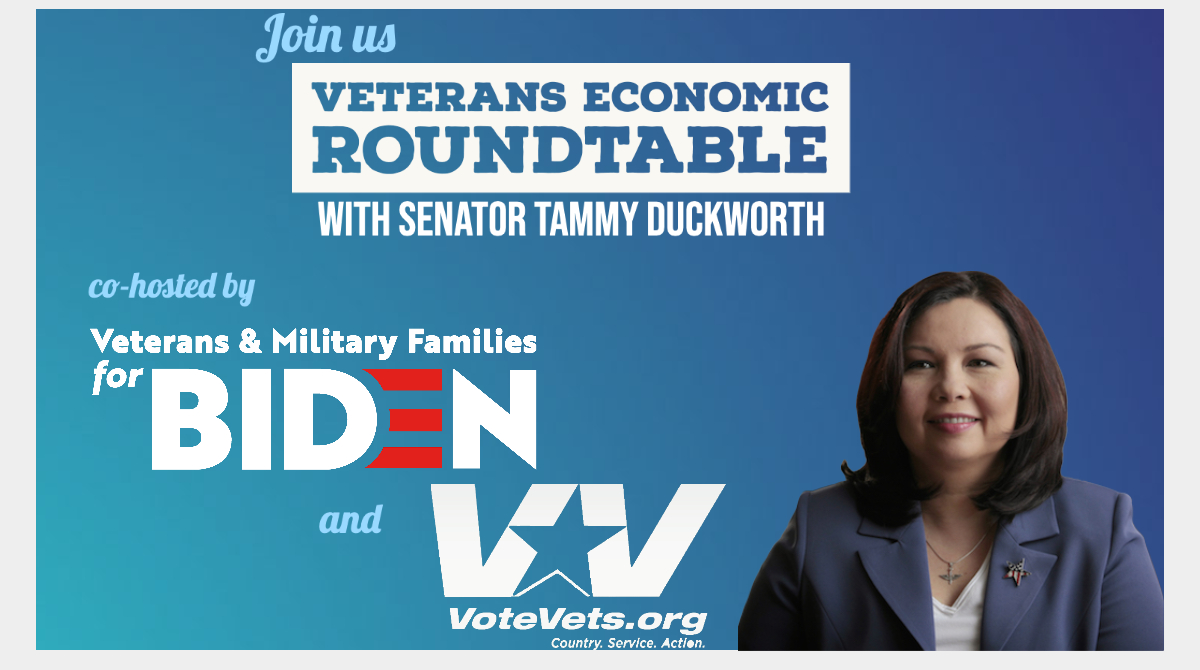 We're excited to co-host our FIRST joint event with Veterans & Military Families for @JoeBiden this Monday!  Join Iraq War Combat Veteran and Senator @TammyforIL for a VETERANS ECONOMIC ROUNDTABLE on the Biden plan to #BuildBackBetter!  Register: