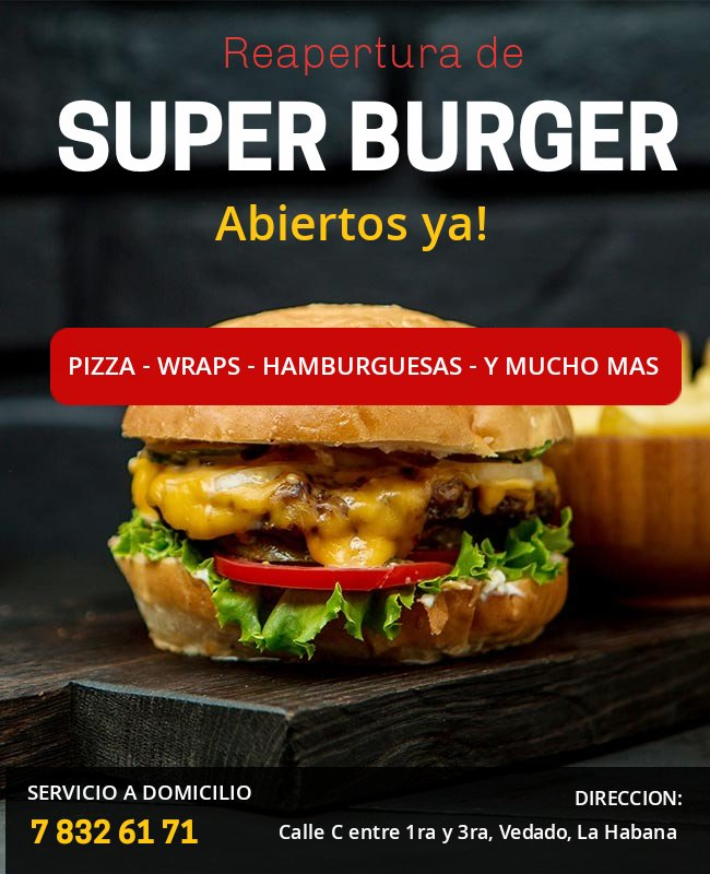 Ya estamos Abiertos! Ven a @SuperBurger17 en 📍 Calle C entre 1ra y 3ra, Vedado, La Habana o Llama a Domicilio ☎️ 7 832 61 71 ⏰ de 8:30 am - 11:30 pm. . . . . #superburger #Cuba #fastfoodincuba #restaurants #sabadodecuarentena #SaturdayMood