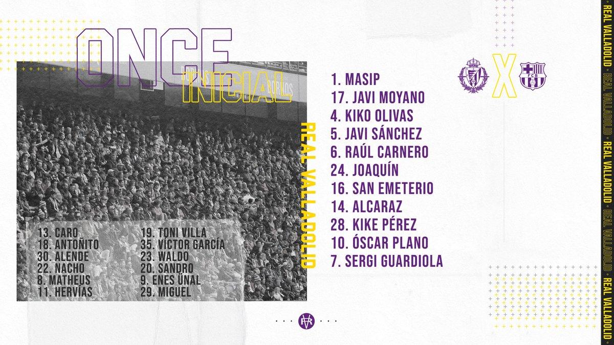 ONCE INICIAL | 📰💜 Estos son los once jugadores escogidos por Sergio González para enfrentarse al @FCBarcelona_es  #pucela #RealValladolidBarça