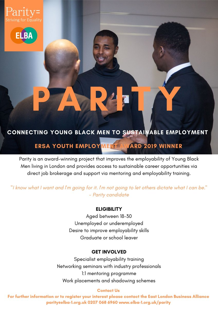 The award-winning PARITY project, run by @OurELBA, connects young black men in London to sustainable #employment!   Please email parity@elba-1.org.uk to register now!   #young #black #men #employability #training #mentoring #networking #events #parity #career #skills