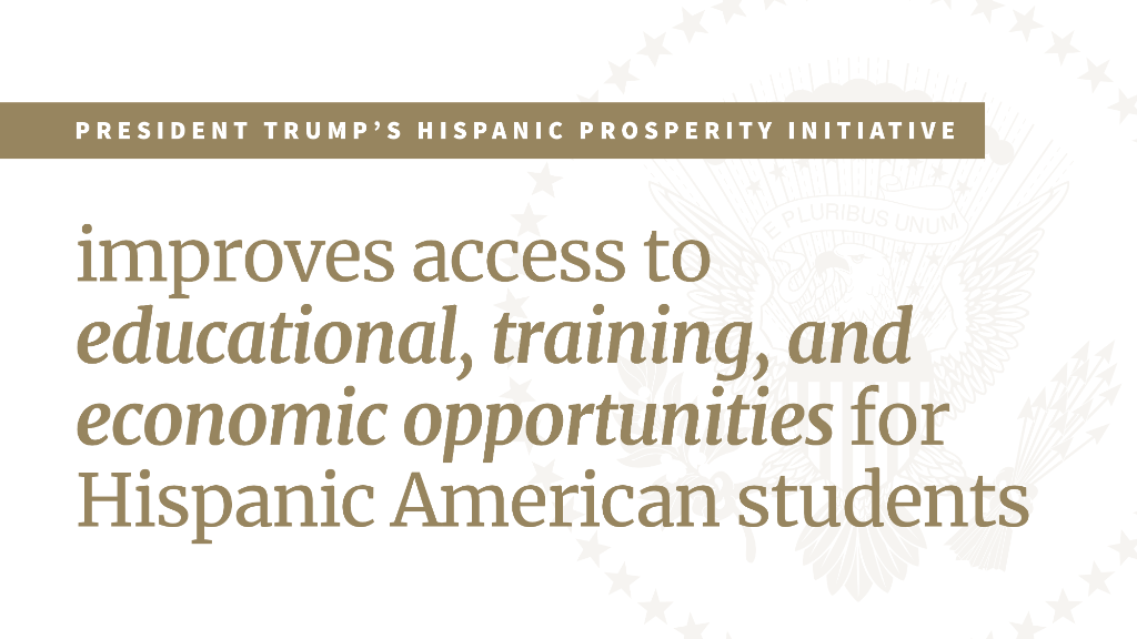 President @realDonaldTrump took action this week to help every member of America's proud Hispanic community unlock the American dream! Get the facts on the White House Hispanic Prosperity Initiative: 45.wh.gov/AGtiW5
