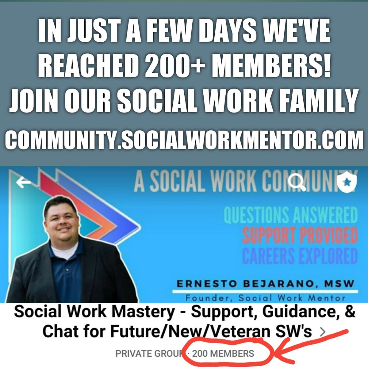 💥💥💥We're growing by leaps and bounds!!! Come join the family❤️❤️❤️  https://t.co/EbhyJEQFKG  #SocialWorkMentor #socialwork #socialworker #MSW #BSW #LCSW #NASW #LMFT #schoolofsocialwork https://t.co/t3pVlgexHM