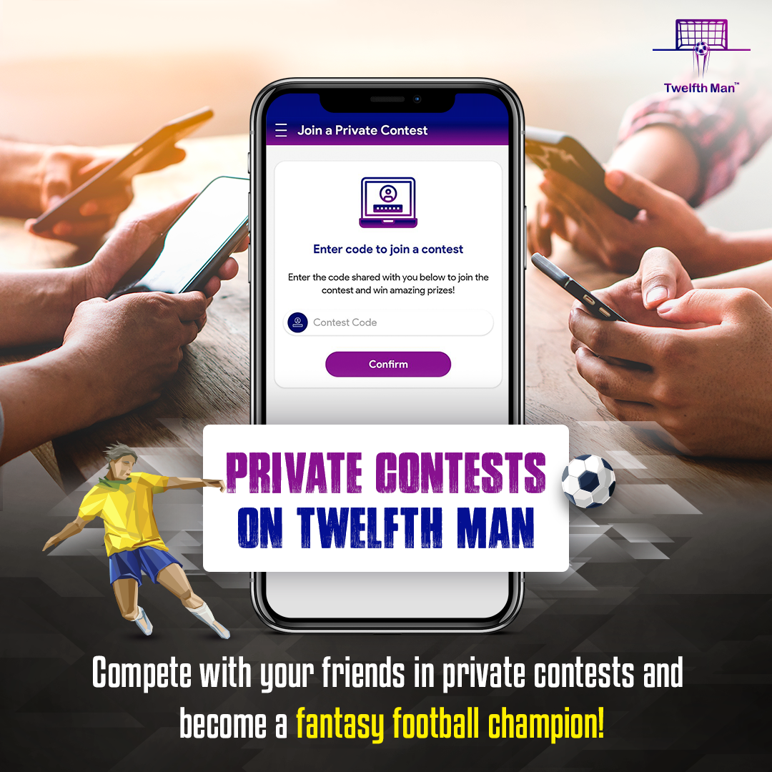 Tag the person you would completely loot on private fantasy contests.  Download the Twelfth Man app now. Link: https://twelfthman.io/  #LiveTheGame #TwelfthManApp #TwelfthMan #FootballContests #TagAFriend #FantasyFootballpic.twitter.com/9KeRhwXk3m