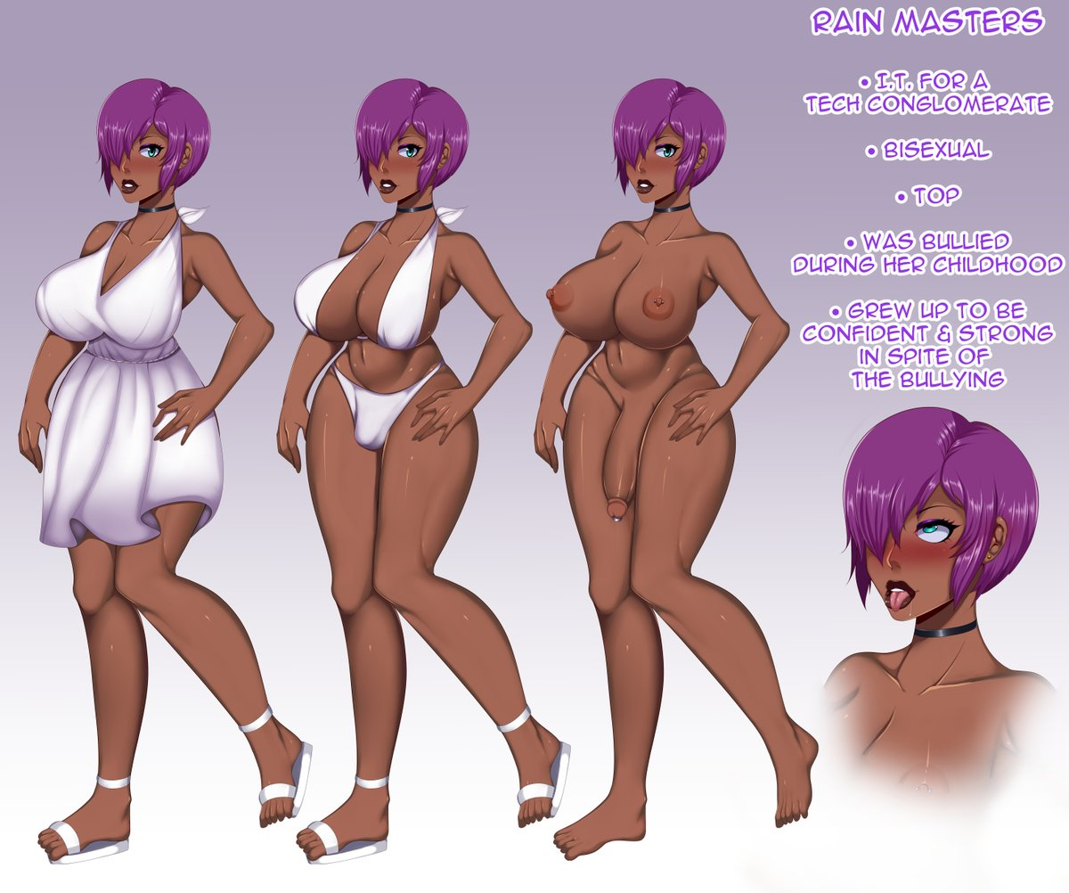 #NSFW character Sheet commission for @FunkmasterYen of their beautiful OC, Rain Masters. I wish I had even half of her confidence or beauty! RTs are 💖💖💖