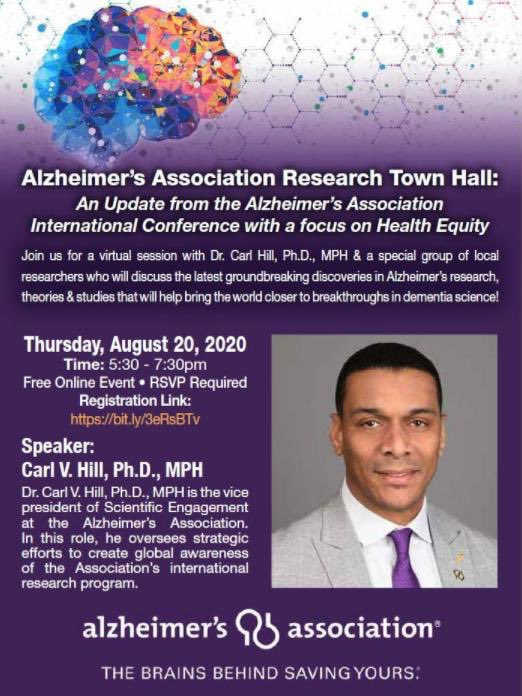 @hillcv17 Dr. Carl Hill is presenting health equity and Alzheimer's Thursday, August 20th 2020 Time: 5:30 – 7:30 PM Location: Virtual via web or phone REGISTER at https://t.co/64V1orYszz https://t.co/DK7ZpDjIu9