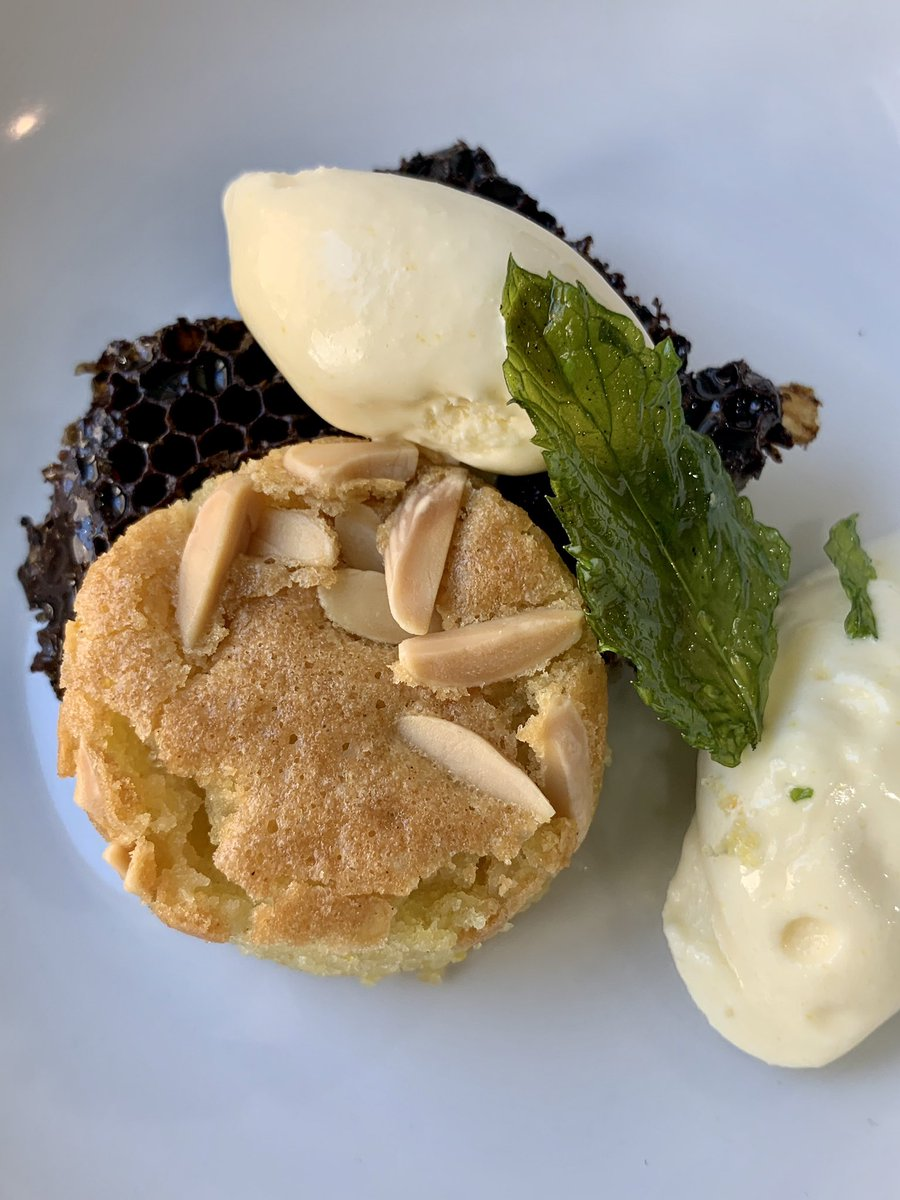 Almond olive oil cake. Local brood comb. Lemon lavender ice cream. Fried mint. #familymeal #oliveoilcake #lavenderlemon #icecream #local #localfood #dessert #chef #fryyourherbs #locallygrown #passion #food #cake