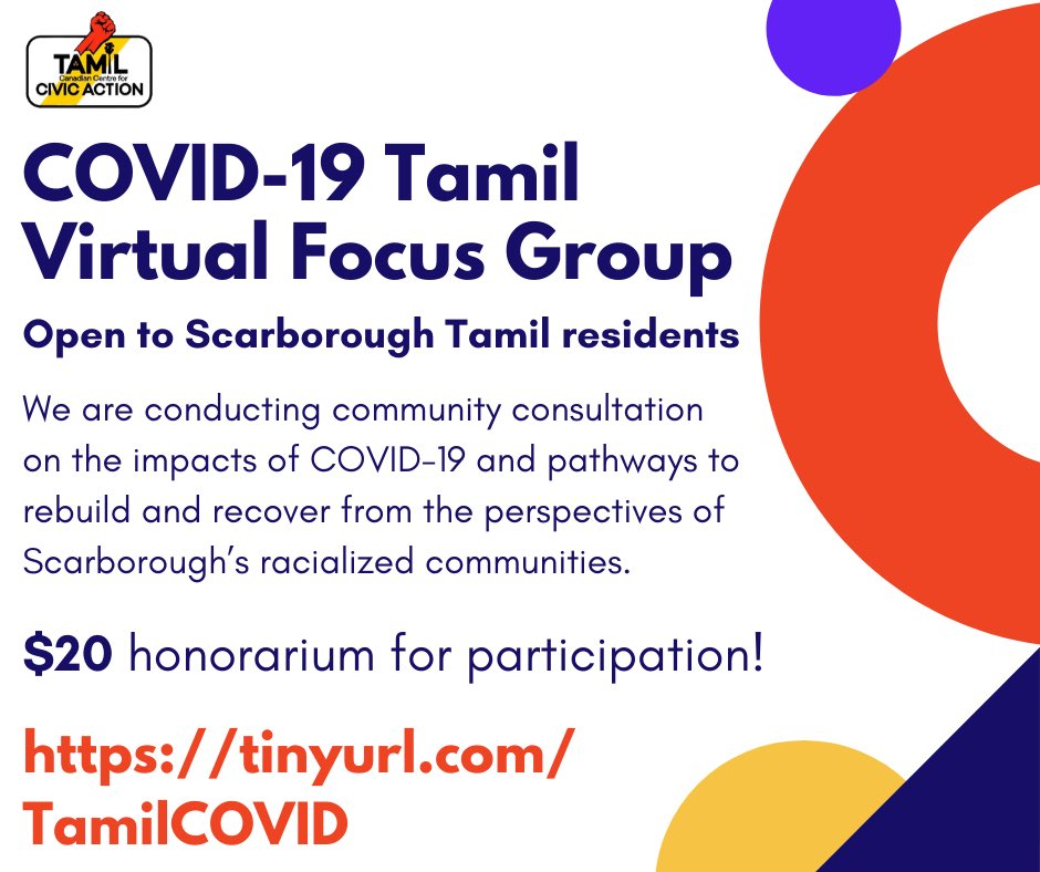 We're conducting virtual focus groups to understand the impacts of COVID-19 on Scarborough Tamil residents. $20 honorariums are available for participants!   Register now at  💪🏾
