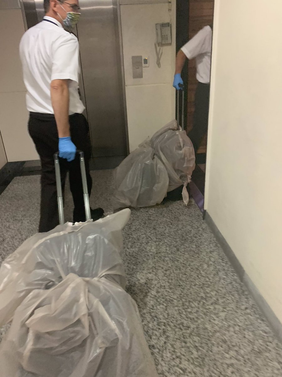 Every country/city has their own procedures for COVID-19. At this location, our bags were sprayed with germicide then bagged when we got off the plane. Gloves/masks required until we enter our hotel room.  Can't leave the room. Room service provided. Temperature checks 2x/day. https://t.co/StbqFSFph2