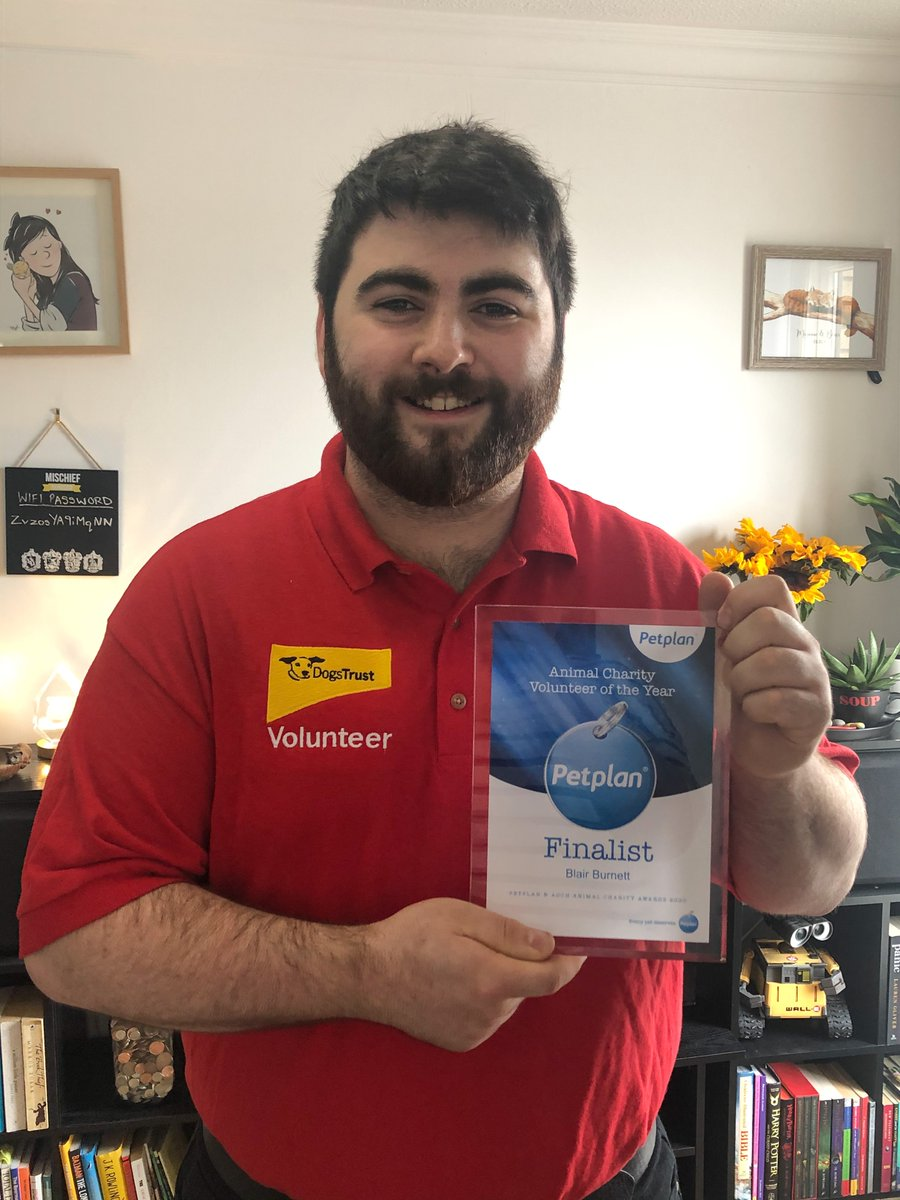 Congratulations to our brilliant Media Support Volunteer, Blair Burnett who was a finalist for the Volunteer of the Year Award at @PetplanUK & ADCH's Animal Charity Awards! Find out more about how Blair has supported Dogs Trust here ➡️ bit.ly/2O9U86Q