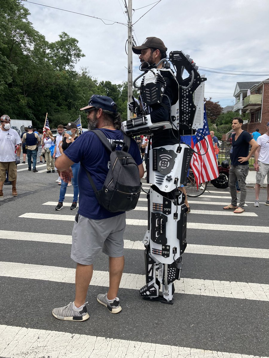 Late stage whiteness in full effect.  (Mecha warrior @ pro cop rally in Bay Ridge, Bklyn) h/t pic by @macfathom<br>http://pic.twitter.com/5L9asMlbof