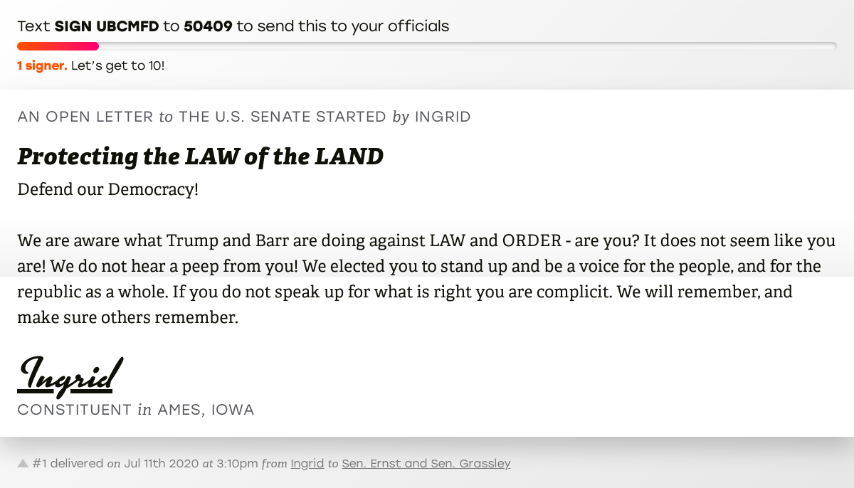"""🖋 Sign """"Protecting the LAW of the LAND"""" and I'll deliver a copy to your officials: https://t.co/t1KFDLsBUW  📨 No. 1 is from Ingrid to @SenJoniErnst and @ChuckGrassley #IA04 #IApolitics #SilenceEqualsCompliance https://t.co/ILUWSSiAH6"""