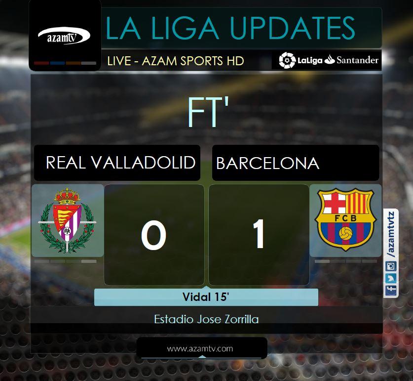 MATOKEO: #LaLiga  FT: Real Valladolid 0-1 Barcelona.  Atletico Madrid vs Real Betis ndiyo mechi inayofuata kuanzia saa 5:00 usiku LIVE #AzamSportsHD  #LaLigaSantander #LaLigaUpdates #RealValladolidBarça #Barcelona #RealValladolid https://t.co/3GOnpklMmH
