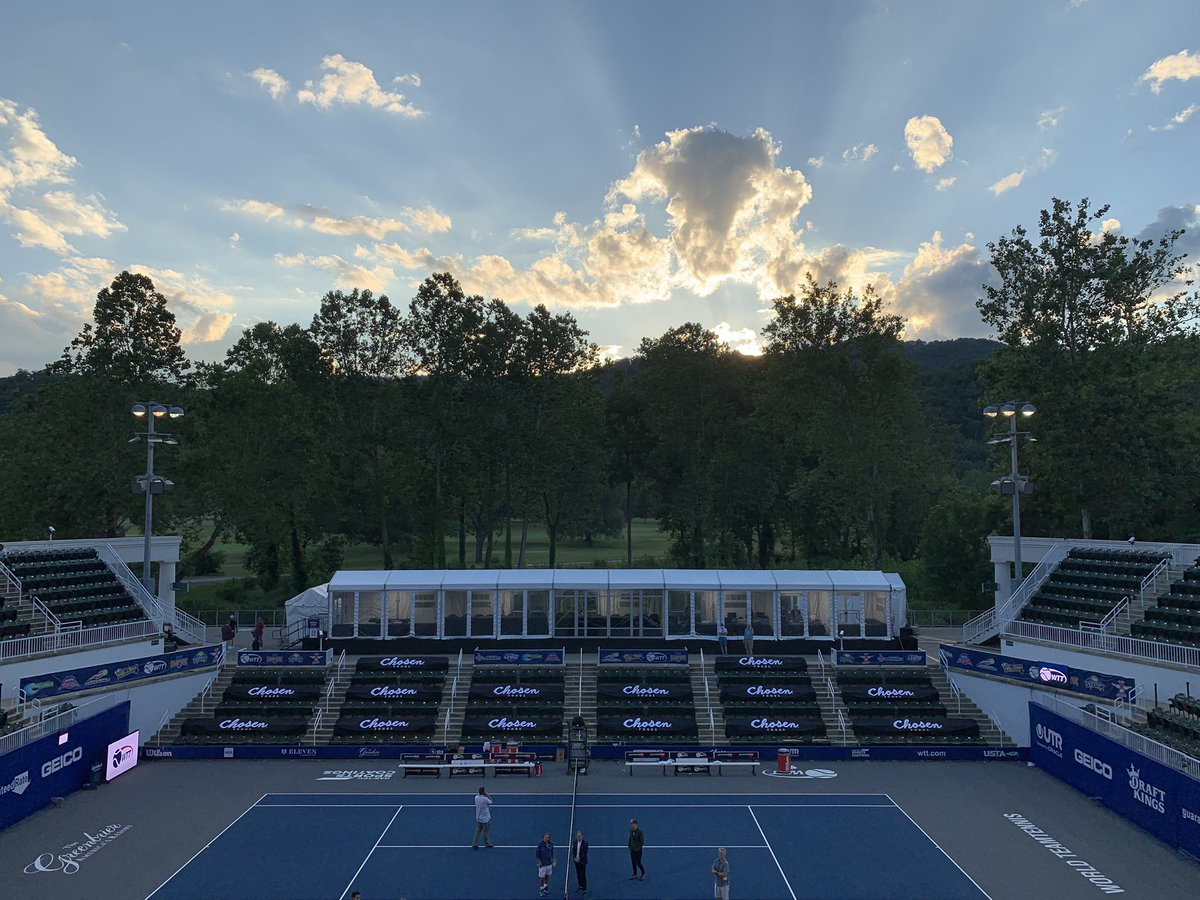 Some of the sights this evening at @The_Greenbrier on the eve of the 2020 Season of @WorldTeamTennis! Beautiful night. Should be an incredible run here in West Virginia. #wtt #worldteamtennis #kingtrophy #thegreenbrier #tennisisback https://t.co/bbrArqzQSc