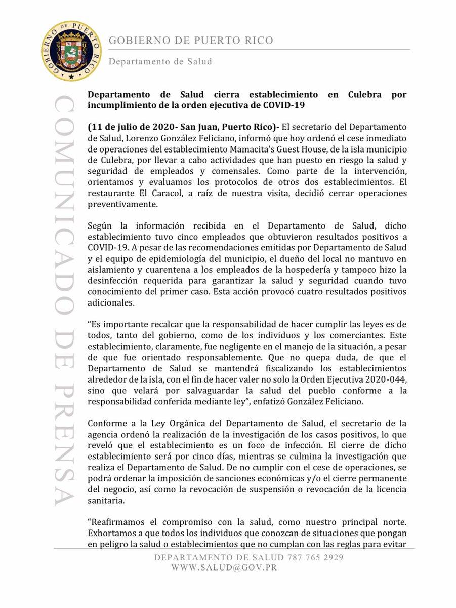 """BREAKING: @DeptSaludPR ordenó el cierre inmediato, por al menos cinco días, de """"Mamacita's Guest House"""", en Culebra, luego que 5 empleados arrojaran positivo al #COVID19, pero no se pusieron en cuarentena ni se desinfectó el local, provocando 4 positivos adicionales. #PuertoRico"""