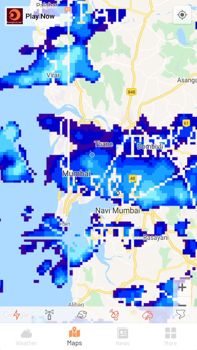 #mumbairains Current update- There is cluster of cloudbands giving rains over some parts of north,south mumbai and satellite cities around Mumbai and virar region with navi mumbai. This may continue for some time   For more updates follow  twiiter-@Weatherdaily3 https://t.co/5gaYy24EFJ