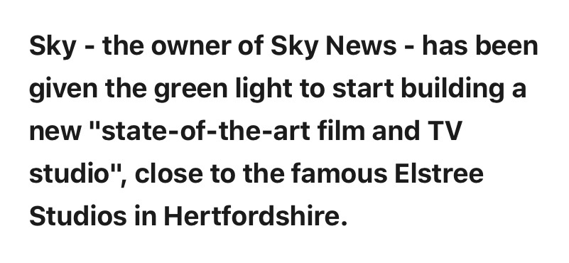 "Sky given go-ahead to build new TV and film studio at ""British Hollywood"" site. news.sky.com/story/sky-give…"