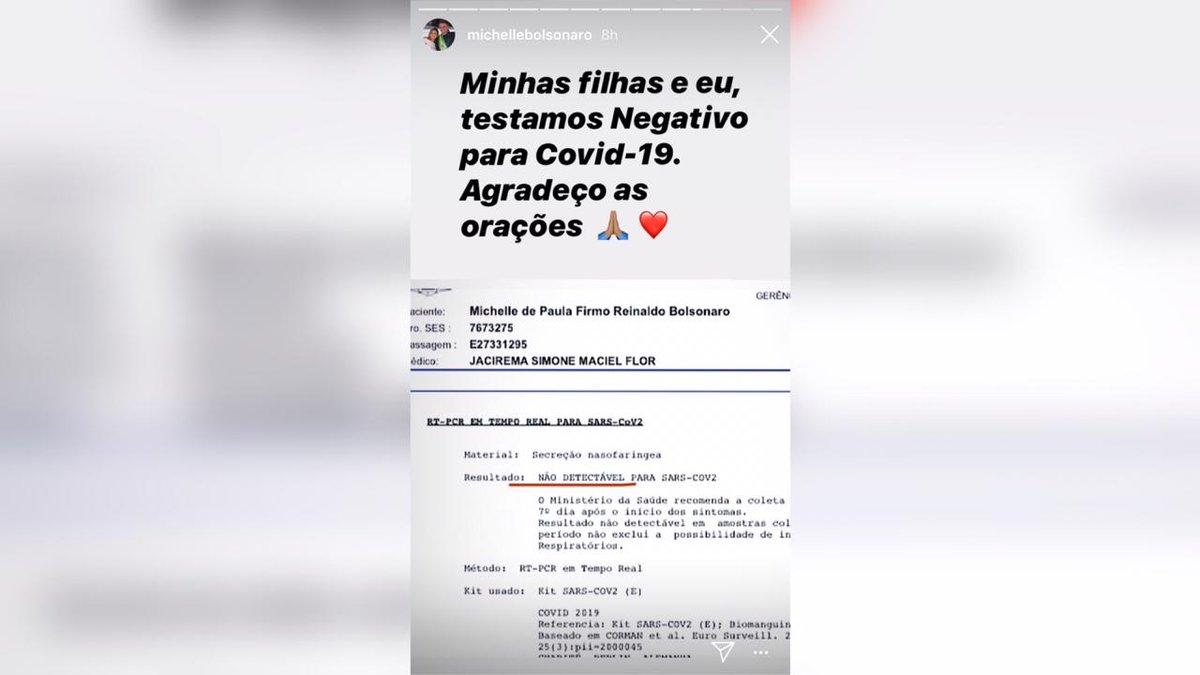 """A primeira-dama usa as redes sociais para anunciar que testou negativo para o coronavírus. Em seu perfil, Michelle Bolsonaro afirmou que as filhas também não contraíram a doença: """"Minhas filhas e eu testamos negativo para Covid-19. Agradeço as orações"""", escreveu a primeira-dama.pic.twitter.com/VgBlEo4HnP"""