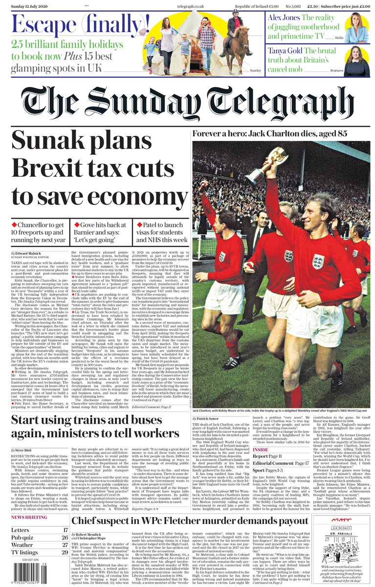 "Tomorrow's Telegraph front page: ""Sunak plans Brexit tax cuts to save economy""  #TomorrowsPapersToday https://t.co/KcArNe2Qzc"