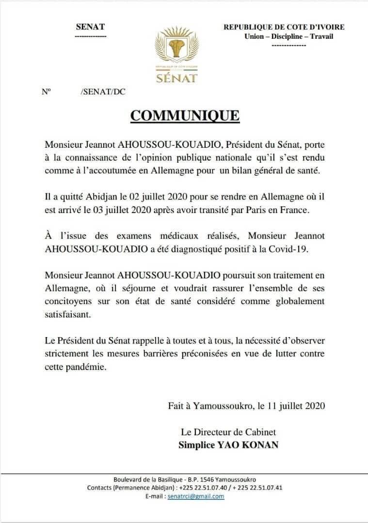 #COMMUNIQUÉ Le Président du Sénat Côte d'Ivoire , Jeannot Ahoussou-Kouadio déclaré positif à la Covid-19, en Allemagne. https://t.co/rRojALngaj