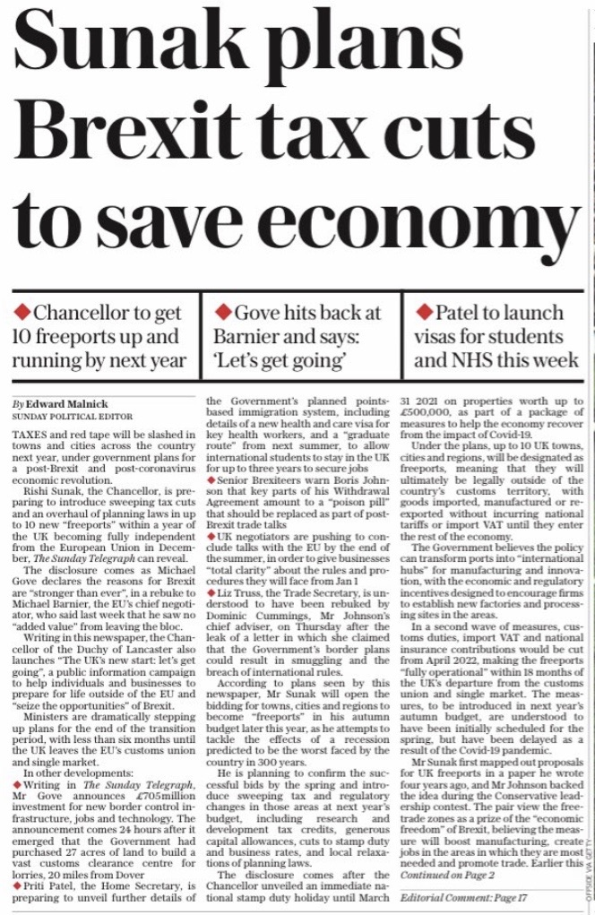 """Sunak plans Brexit tax cuts to save economy"""
