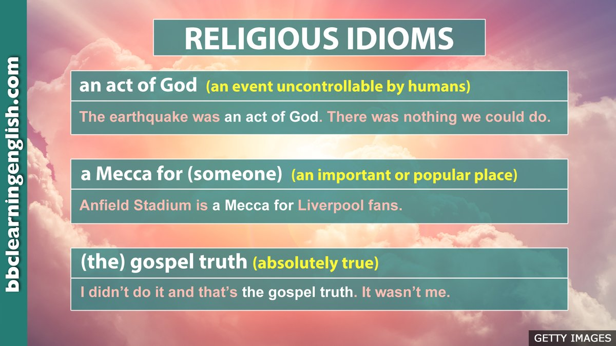 Do you know many idioms in English? Here are some English expressions that have been inspired by religion. More #idioms and phrases here: bbc.in/38HNWfP #learnenglish #bbclearningenglish #speakenglish #elt #esl #vocabulary #englishonline #vocab #englishtips