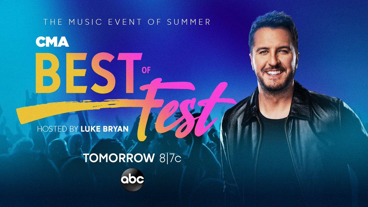 "Ready for a night of Country Music!? Watch @LukeBryanOnline host ""Best of #CMAfest"" feat. past performances by @KelseaBallerini, @GarthBrooks, @BrooksAndDunn, @KennyChesney, @MirandaLambert, @MarenMorris, @DariusRucker, @CarrieUnderwood & more TOMORROW at 8|7c on @ABCNetwork! 🎶 https://t.co/jpfg5NNXPI"