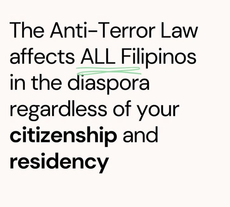 The Anti-Terror Law does not only affect those back at home.... but anyone, anywhere. #JunkTerrorLaw #OustDuterte #GraySUM2020pic.twitter.com/li7pWz4VMD