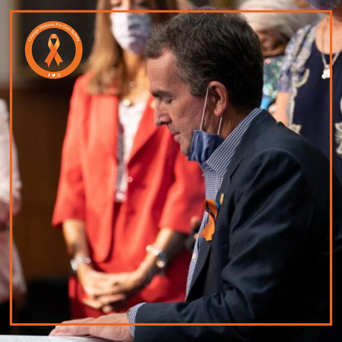 @GovernorVA @RalphNortham on Thursday signed a series of gun safety laws into effect including new measures to require background checks on all gun sales and establish an Extreme Risk Protective Order. More at https://t.co/QKo5cW7ojf.   #OrangeRibbonsForGunSafety https://t.co/qyc1ianL2o