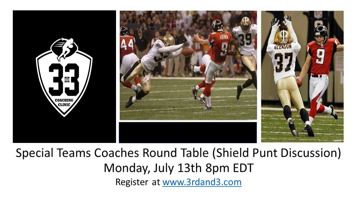 We are going to cover all downs this week on 3rd and 3. Monday night is all about 4th down and Special Teams. Tuesday we switch gears to the passing game with the Wide Receivers and the Defensive Backs. Sign up now at 3rdand3.com/bookasession