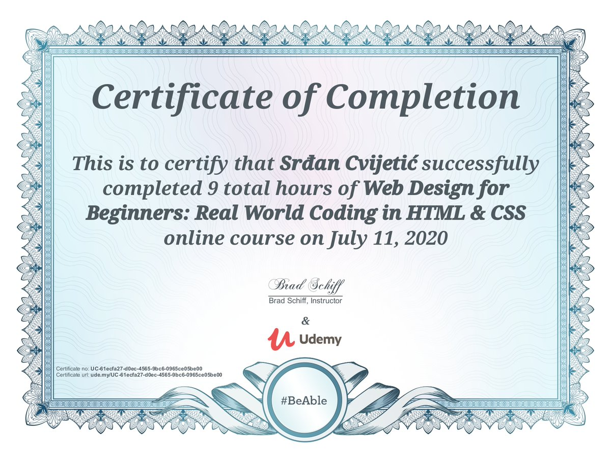 Completed @Udemy course:   10. Web Design for Beginners: Real World Coding in HTML & CSS by @learnwebcode   #udemy #100DaysOfCode #web #webdevelopment #webdeveloper #webdevelopers #webdev #websitedevelopment #websitedeveloper #webdesign #webdesigner #code #coder #programmer<br>http://pic.twitter.com/m84n2VZfec